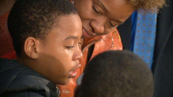 PHOTO: Jeremiah Harvey, 9, speaks at an event in Flatbush, Brooklyn, Oct. 16, 2018, after he was accused by Teresa Klein of grabbing her backside at a deli. (WABC)