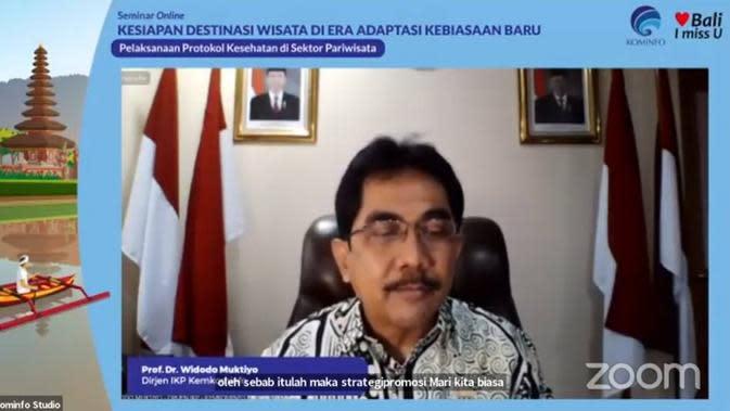 Prof. Dr. Widodo Muktiyo, Direktur Jenderal IKP Kemkominfo dalam webinar bertajuk 'Kesiapan Destinasi Wisata di Era Adaptasi Kebiasaan Baru', Jum'at, 9/10/2020. (dok. Liputan6.com/Brigitta Bellion)