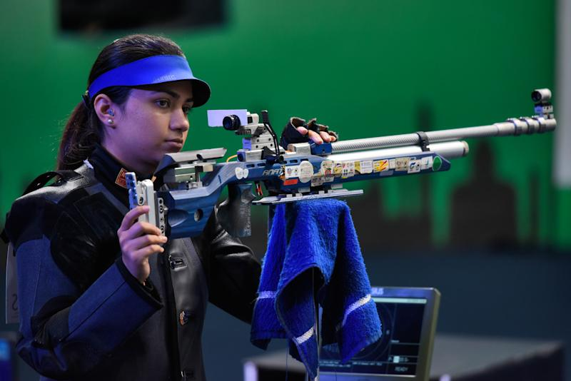 NEW DELHI, INDIA FEBRUARY 23: Indian shooter Apurvi Chandela won the first gold for India in 10 meter Air Rifle category, at the ISSF World Cup, at Karni Singh Shooting Range, on February 23, 2019 in New Delhi, India. China's Zhao Ruozhu and Xu Hong settled for the second and third spot. (Photo by Burhaan Kinu/Hindustan Times via Getty Images)