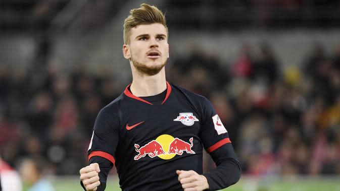 Striker RB Leipzig, Timo Werner, saat ini merupakan salah satu primadona yang menjadi incaran klub raksasa Premier League. (AFP/Ina Fassebender)