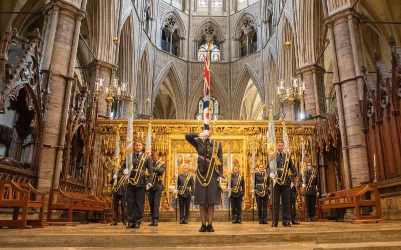 Standard bearers form up at the altar at the Battle of Britain Service at Westminster Abbey -  SAC Connor Tierney/RAF