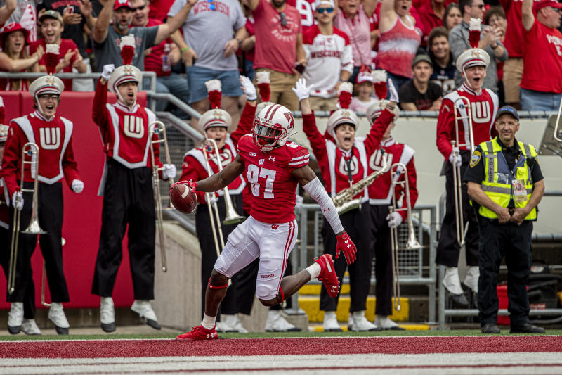 MADISON, WI - SEPTEMBER 07: Wisconsin Badgers wide receiver Quintez Cephus (87) celebrates after scoring his second touchdown reception of the day durning a college football game between the Central Michigan Chippewas and the Wisconsin Badgers on September 7, 2019, at Camp Randall Stadium in Madison, WI. (Photo by Dan Sanger/Icon Sportswire via Getty Images)