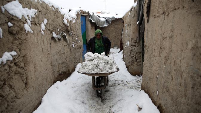 Pengungsi membawa salju dengan gerobak dorong setelah badai salju di sebuah kamp di pinggiran Kabul, Afghanistan, Minggu (12/1/2020). Hujan salju lebat mengakibatkan sebagian besar jalan raya di Afghanistan ditutup karena khawatir akan longsor. (AP Photo/Rahmat Gul)