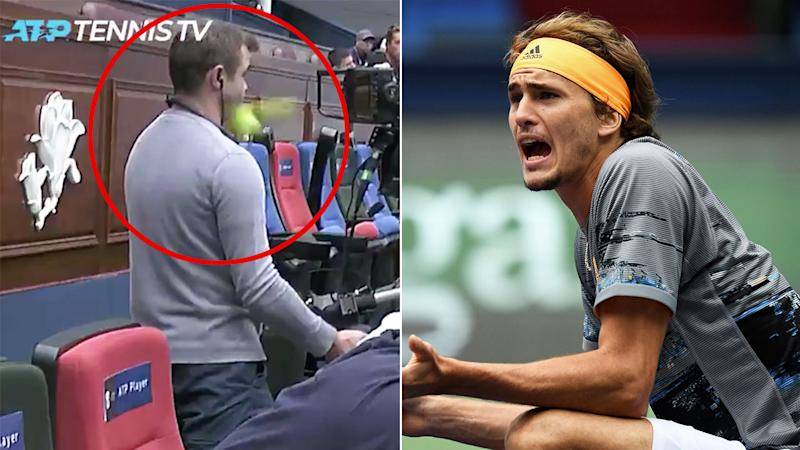 Alexander Zverev won his Shanghai Masters match despite a series of crazy incidents.