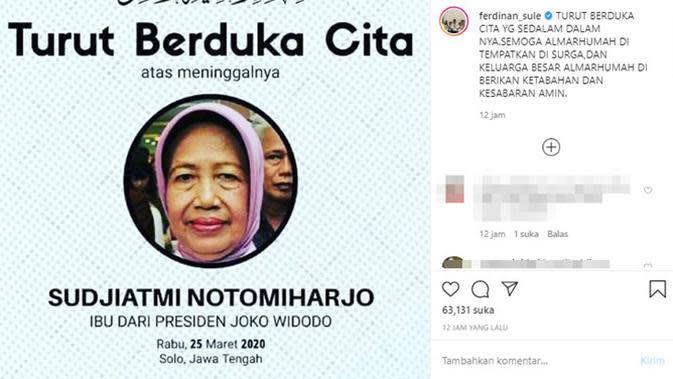 Ungkapan duka meninggalnya ibunda Presiden Jokowi dari para artis. (Sumber: Instagram/@ferdinan_sule)