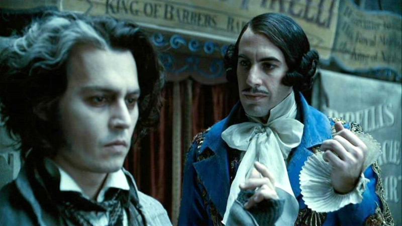 Johnny Depp and Sacha Baron Cohen in 'Sweeney Todd'. (Credit: Warner Bros)