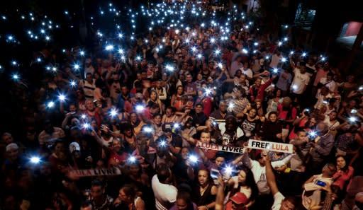 Supporters of Brazilian ex-president Luiz Inacio Lula da Silva call for his release at a July 8 rally in Sao Paulo