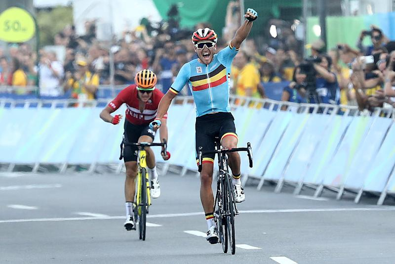 Belgium's Greg Van Avermaet wins gold in the men's road race at the 2016 Olympic Games in Rio de Janeiro ahead of Denmark's Jakob Fuglsang