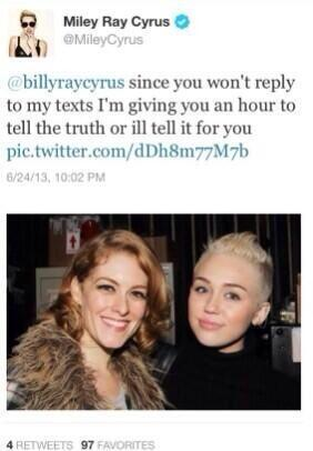 Miley Cyrus Threatens Dad on Twitter