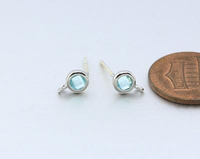 Alice Blue Glass Pendant AG046-PG-AB Jewelry Craft Supplies Polished Gold Plated  2 Pcs
