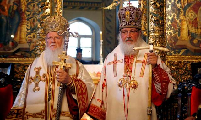 Bartholomew I of Constantinople (left) with the Russian Orthodox leader, Patriarch Kirill