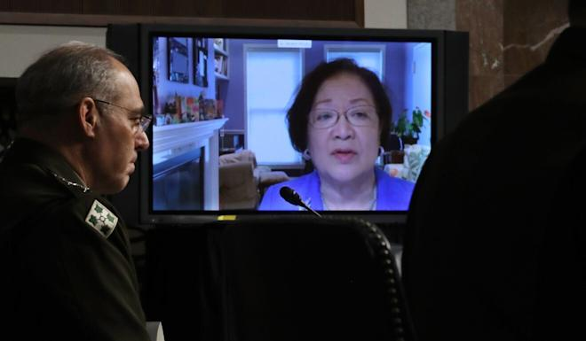 Senator Mazie Hirono appears via video link to question during the hearing before the Senate Armed Services Committee in Washington on Thursday. Photo: EPA-EFE