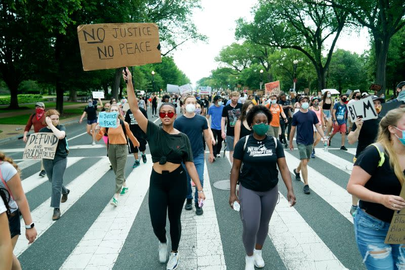 FILE PHOTO: Protesters march against racial inequality in Washington