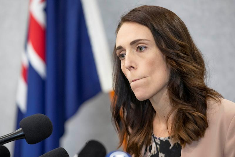 New Zealand Prime Minister Jacinda Ardern pauses during a news conference prior to the anniversary of the mosque attacks that took place the prior year in Christchurch