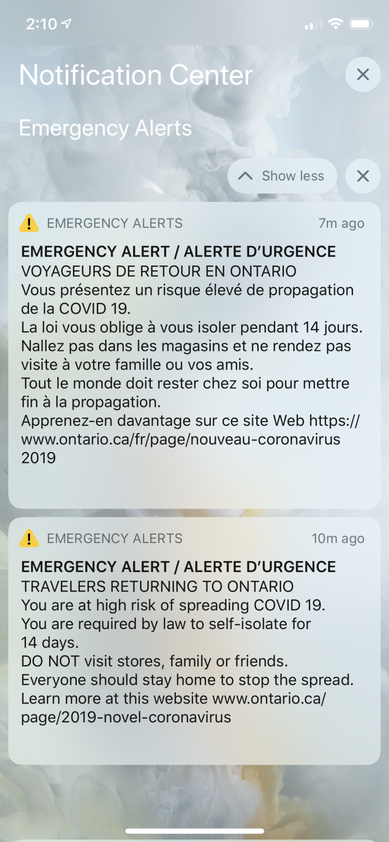 COVID-19 Ontario alert (Yahoo Canada)