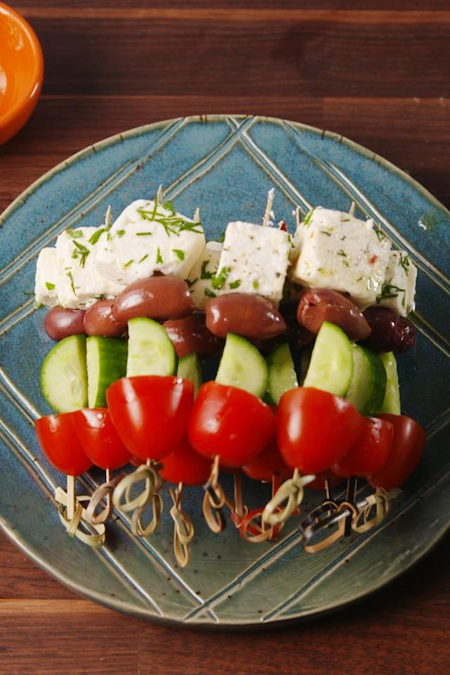"""<p>Who doesn't like Greek salad?</p><p>Get the recipe from <a href=""""https://www.delish.com/cooking/recipe-ideas/recipes/a52183/greek-salad-skewers-recipe/"""" target=""""_blank"""">Delish</a>.</p>"""