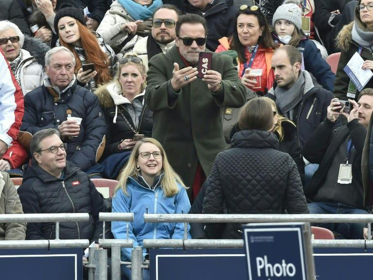 Schwarzenegger in the Kitzbuehel crowd