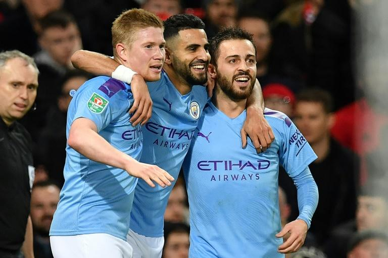 Fearsome threesome: Kevin de Bruyne (left), Riyad Mahrez (centre) and Bernardo Silva (right) all played key roles in Manchester City's victory at Manchester United