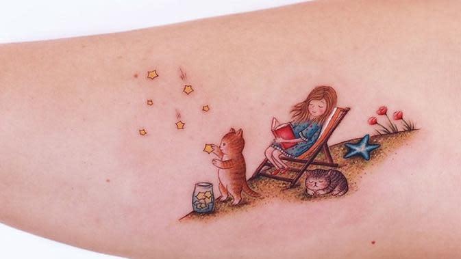 Seniman ini buat tato penuh warna bak di buku dongeng, hasilnya keren banget. (Sumber: Instagram/@ayhankrdg)