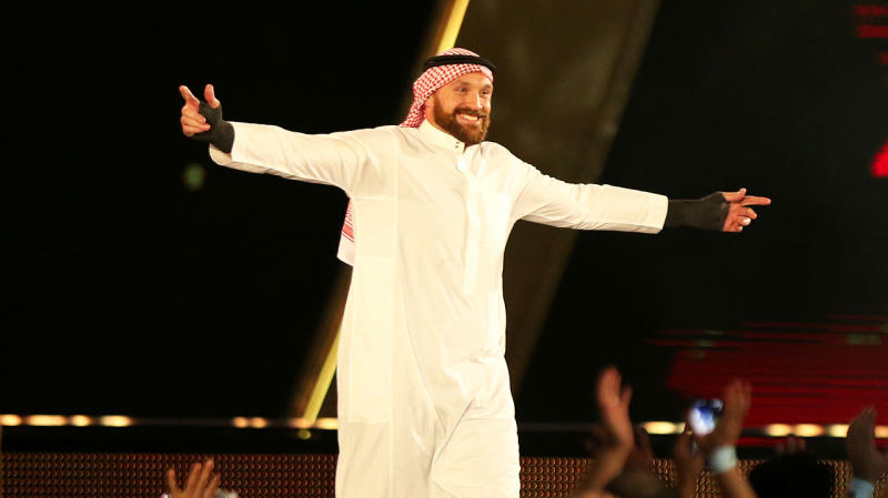 Tyson Fury made his WWE debut at the Crown Jewels main event in Sauadi Arabia. (Getty Images)