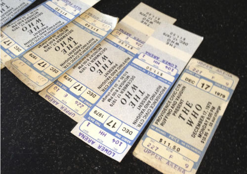 Tickets from a canceled 1979 concert by The Who, which were exchanged by fans for their upcoming Quadrophenia tour concert in February 2013,lay on a counter outside the box office of the Dunkin Donuts Center in Providence, R.I., Tuesday, July 31, 2012. Their 1979 concert was cancelled due to safety concerns after 11 people died in a stampede before a show in Ohio. The arena honored the tickets for that canceled show, which will be auctioned off to help the Special Olympics. (AP Photo/Michelle R. Smith)