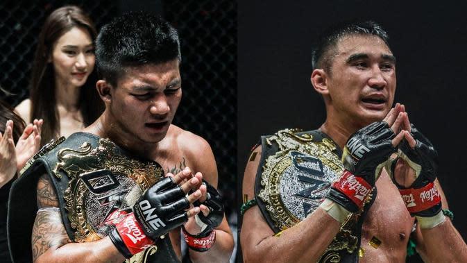 Juara dunia ONE Flyweight MuayThai Rodtang Jitmuangnon dan ONE Featherweight Muay Thai Petchmorakot akan menghiasiajang perdana ONE Championship di Bangkok, Thailand, 31 Juli 2020. (foto: istimewa)