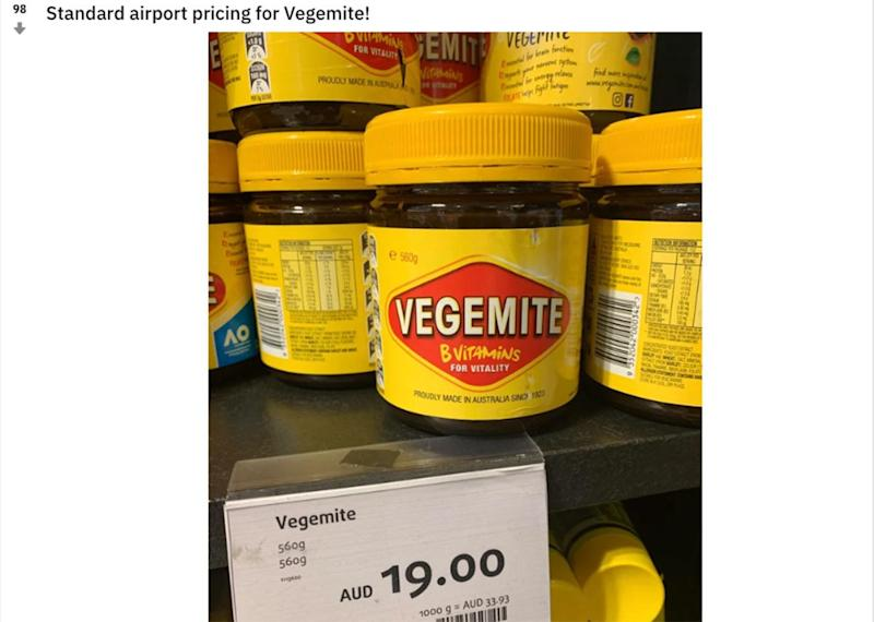 A photo of a jar of Vegemite has caused online outrage, with the national treasure appearing to be sold for a highly inflated price at a Sydney airport shop. Source: mrmaxwell77/Reddit
