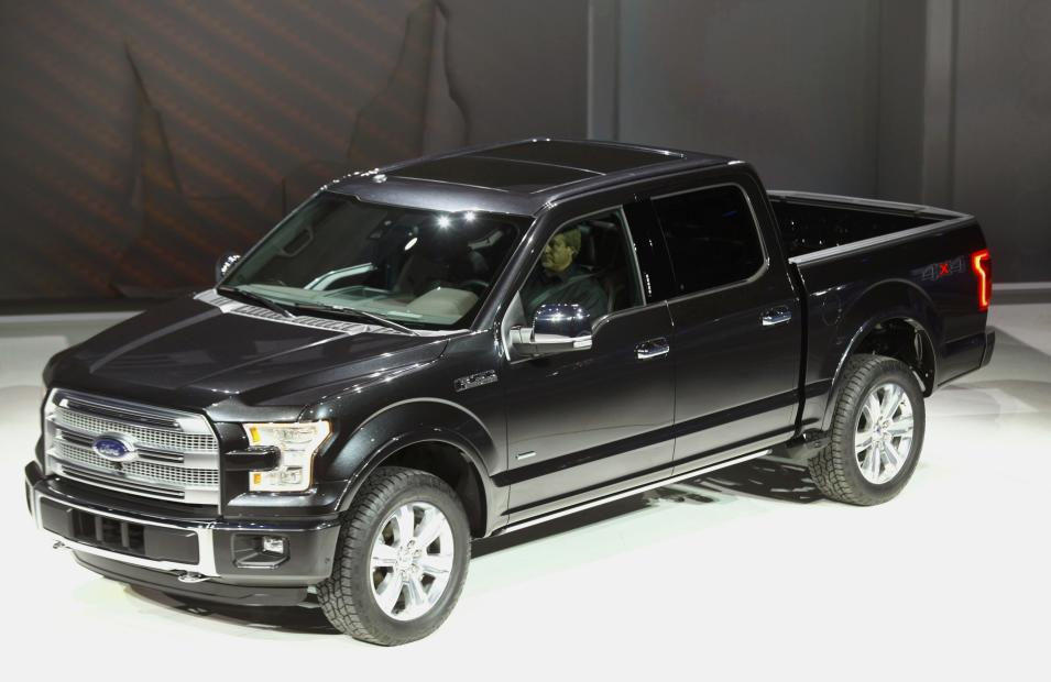 A new Ford F-150 pickup truck is displayed during the press preview day of the North American International Auto Show in Detroit