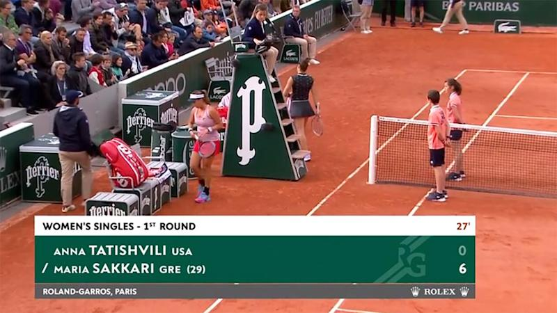 Maria Sakkari blew Anna Tatishvili off the court. Image: French Open