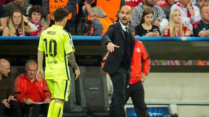 Pep Guardiola dan Lionel Messi (AFP/Odd Andersen)