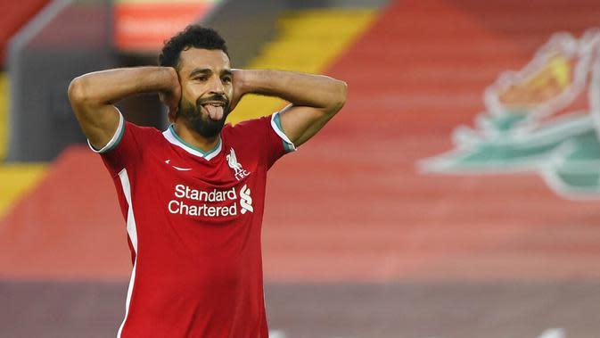 3. Mohamed Salah (Liverpool) - Pemain andalan timnas Mesir itu tidak menambah gol pekan ini sehingga koleksi golnya masih tertahan di angka tiga. (Shaun Botterill, Pool via AP)