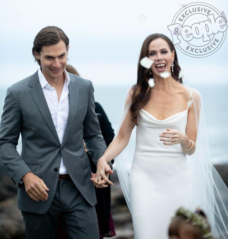 From left: Craig Coyne and Barbara Pierce Bush at their October wedding in Maine | Allison V. Smith
