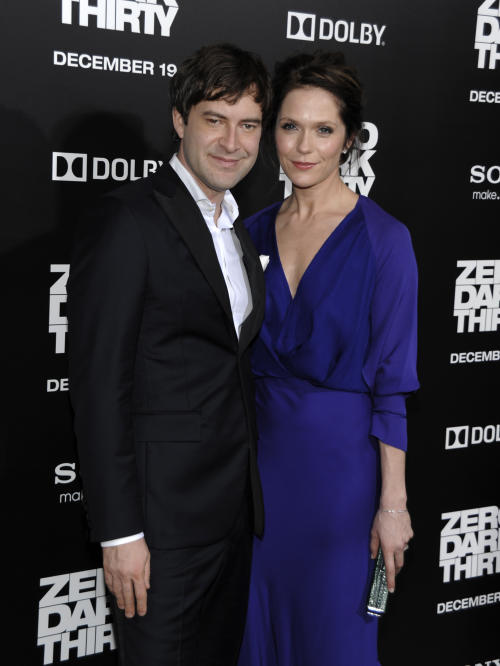 "FILE - In this Dec. 10, 2012 file photo, actor Mark Duplass, left, and actress Katie Aselton arrive at the premiere of the feature film ""Zero Dark Thirty"" at the Dolby Theatre in Los Angeles. (Photo by Dan Steinberg/Invision/AP, File)"