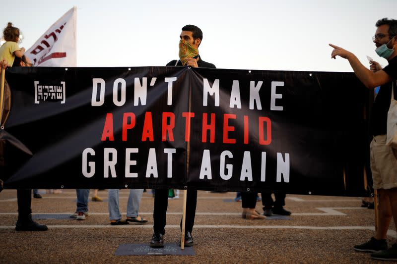 Protest against Israeli PM Netanyahu's plan to annex parts of West Bank, in Tel Aviv