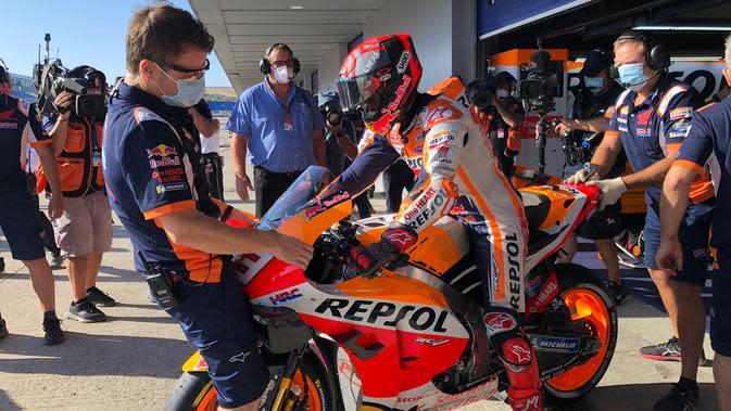 Rider Repsol Honda Marc Marquez tampil pada sesi latihan bebas ketiga MotoGP Andalusia di Sirkuit Jerez, Sabtu (25/7/2020). (Dok Repsol Honda)