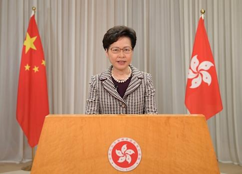 Carrie Lam delivers a video message to the United Nations Human Rights Council meeting on Tuesday. Photo: Handout