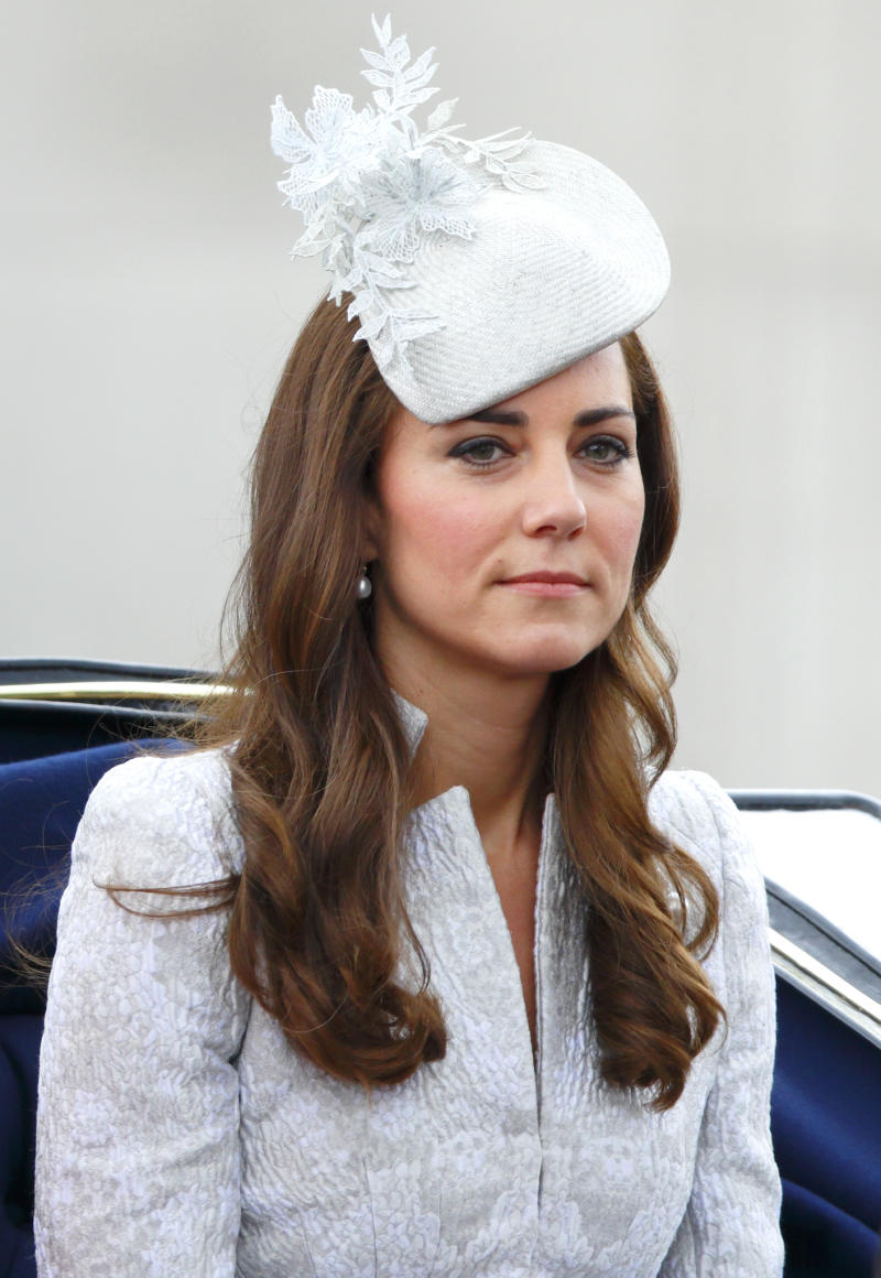 Kate Middleton in baby blue coat and fascinator