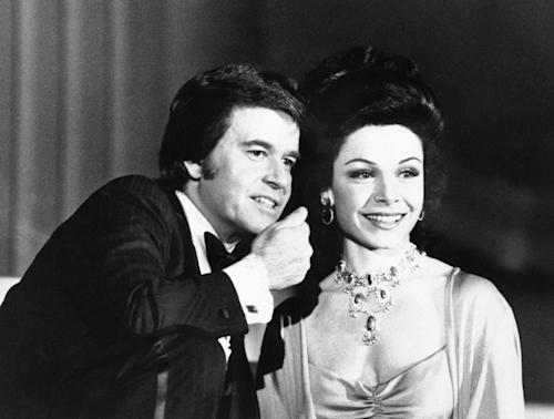"FILE - In this January 1978 file photo, executive producer Dick Clark welcomes former ""Mouseketeer"" Annette Funicello to the party when ABC-TV presents ""ABC's Silver Anniversary Celebration,"" a gala four-hour telecast. Walt Disney Co. says, Monday, April 8, 2013, that Funicello, also known for her beach movies with Frankie Avalon, has died at age 70. (AP Photo/File)"