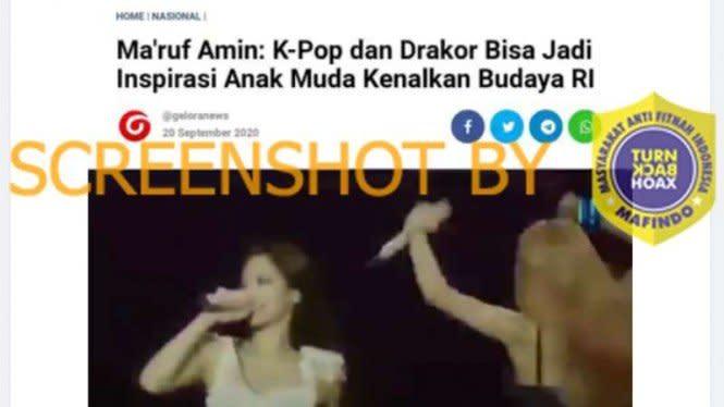 Cek Fakta: Ma'ruf Amin Ajak Nonton Paha melalui K-pop dan Drakor