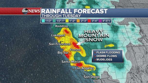 PHOTO: Rainfall forecast through Tuesday. (ABC News)