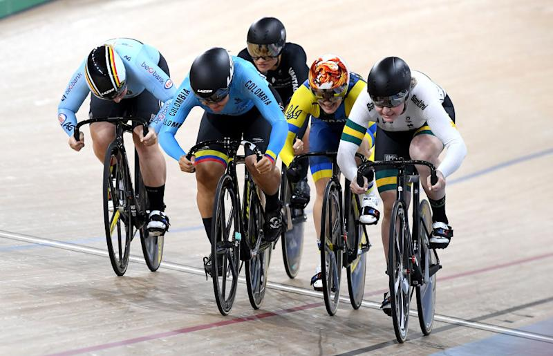 Colombia's Martha Bayona edges out Australia's Steph Morton to win the Keirin final at the Brisbane round of the 2019 UCI Track World Cup at the Anna Meares Velodrome