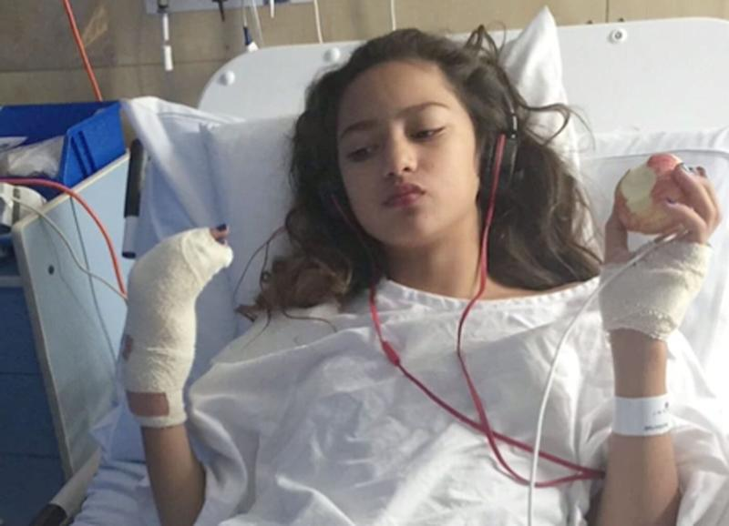 Isabella Miucci pictured in hospital. She was injured on a ride at the Sydney Royal Easter Show and her family received $45,000 in compensation claiming it ended her dreams of being a hip hop dancer.