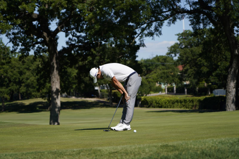 Coilin Morikawa misses a putt on the 17th green during a playoff round at the Charles Schwab Challenge golf tournament at the Colonial Country Club in Fort Worth, Texas, Sunday, June 14, 2020. Daniel Berger won the tournament after one playoff hole. (AP Photo/David J. Phillip)
