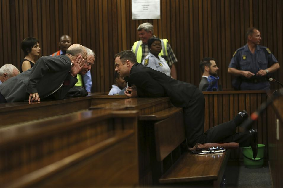 Olympic and Paralympic track star Oscar Pistorius attends his sentencing hearing at the North Gauteng High Court in Pretoria