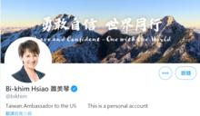 蕭美琴自介「駐美大使」胡錫進跳腳要推特更正 林俊憲:誰理你們