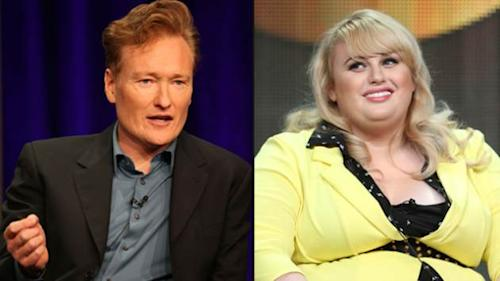 Conan O'Brien, Rebel Wilson onstage during the 'Super Fun Night' panel discussion at the Disney/ABC Television Group portion of the Television Critics Association Summer Press Tour at the Beverly Hilton Hotel on August 4, 2013 in Beverly Hills -- Getty Images