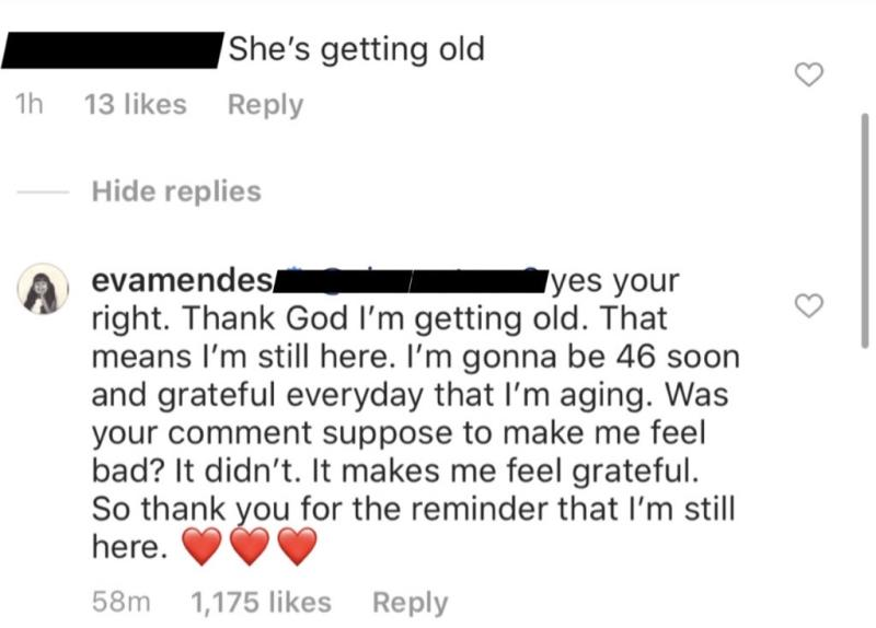 "Eva Mendes responded to a rude Instagram commenter who called her ""old."" (Screenshot: Instagram/Eva Mendes)"