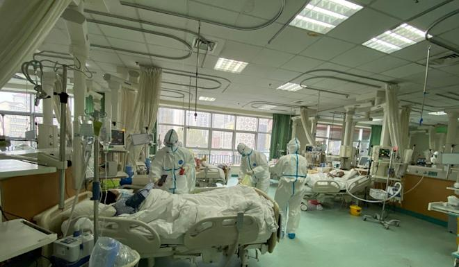 Medical staff treat patients at the Central Hospital of Wuhan. Photo: Reuters courtesy of the Central Hospital of Wuhan via Weibo
