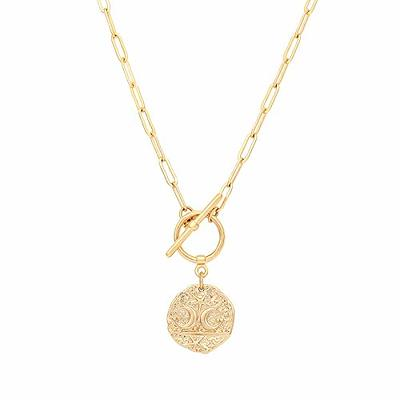 Star Charm Toggle Necklace 14K Gold Filled Toggle Clasp Pendant Layering Necklace Set Gold Medallion Jewellery Sattelite Chain