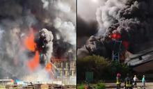 台中火力發電廠煤倉大火 濃黑煙不斷竄出